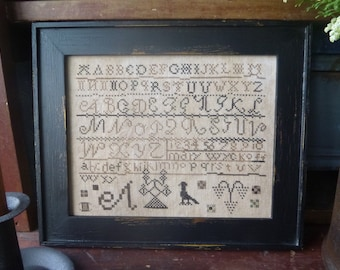 Primitive Mary Wyckoff Cross Stitch Sampler Antique Style Reproduction Instant Download E Pattern PDF