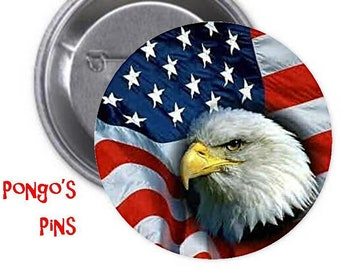 ec9fc84a3e40 AMERICAN BALD EAGLE - Large 3-inch collectible pinabck button or magnet -  Classic Collectionw Mount-Anywhere Disc