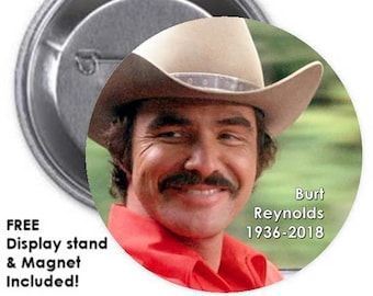 6966870faf4 BURT REYNOLDS SET - Set of 3 large 3-inch pinback button badge with Free  Display Stands and Magnets w Mount-Anywhere Disc