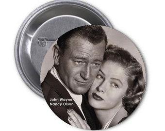 "JOHN WAYNE & Nancy Olson - Movie Stars - huge 3"" collectible pinback button - Classic Movie Stars Collection"