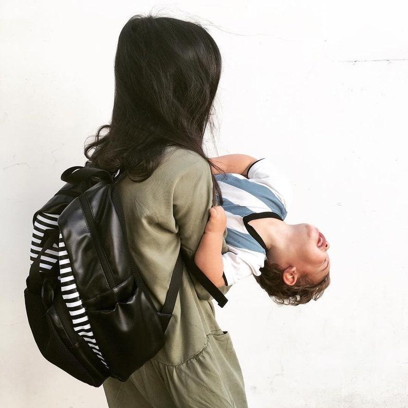 Stroller Bag Baby Bag Backpack Vegan Changing Bag Stylish Diaper Bag Striped Bear Bag Nappy Bag Designer Diaper Bag Backpack