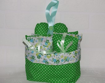 Lavender Fabric Handmade Gift Basket in green dotty and flower material, with home grown dried lavender