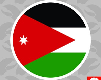3aa58e2bbab Round Jordanian Flag Sticker Self Adhesive Vinyl Jordan JOR JO - C1960