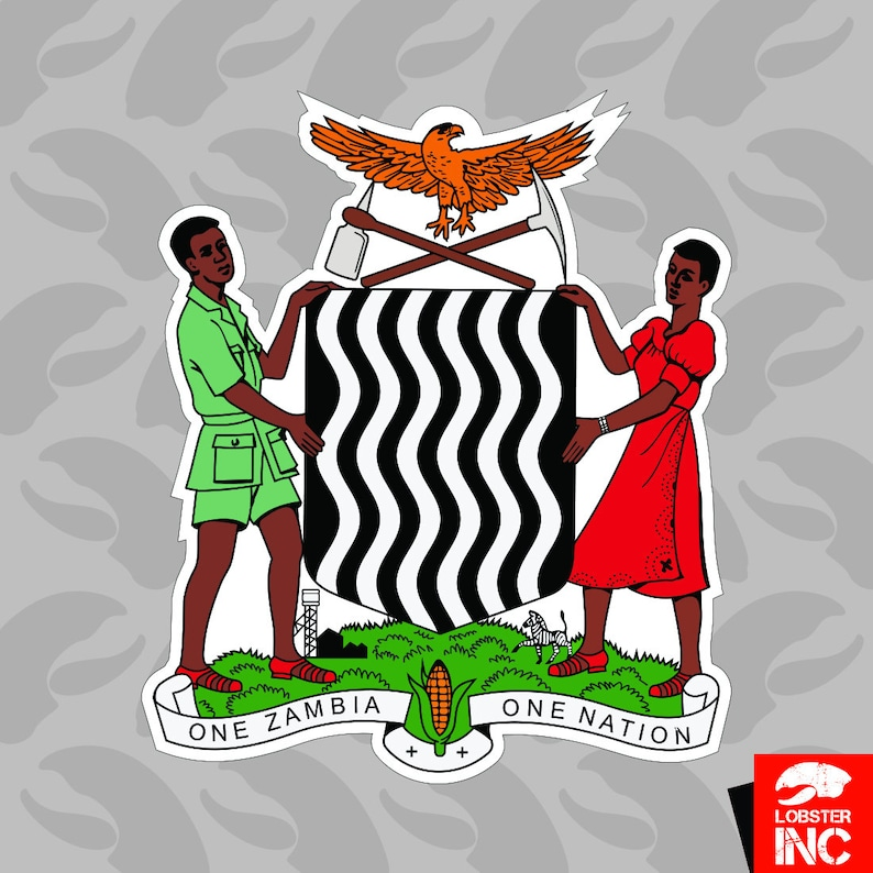 Zambian Coat of Arms Sticker Self Adhesive Vinyl Zambia flag ZMB ZM - C2794