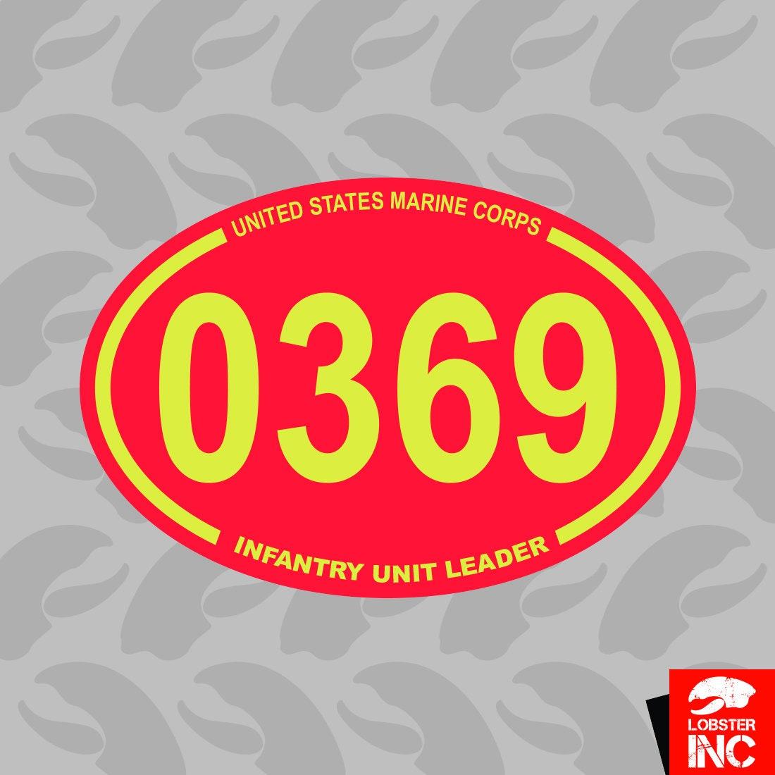 United States Marine Corps MOS 0369 Infantry Unit Leader Oval Sticker usmc