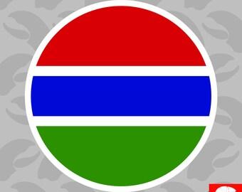 Round Gambian Flag Sticker Self Adhesive Vinyl Gambia GMB GM - C1836