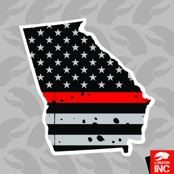 Distressed Thin Red Line Florida State Shaped Subdued US Flag Sticker fire FL
