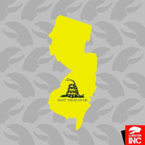 New Jersey State Shaped Gadsden Flag Sticker Decal Vinyl NJ