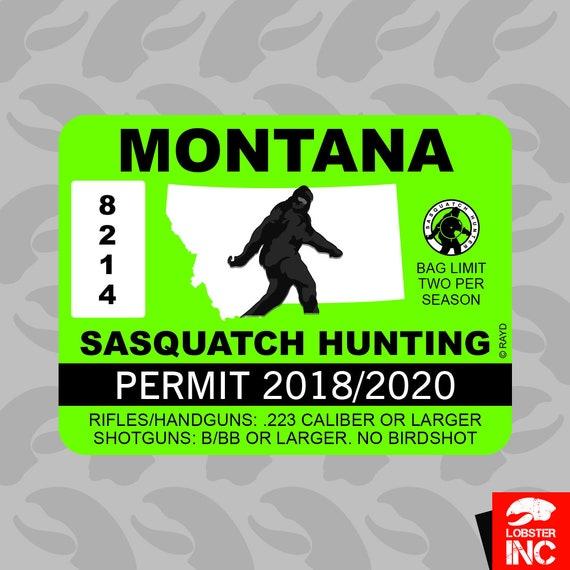 Bumper Sticker MISSOURI Bigfoot Hunting Permit