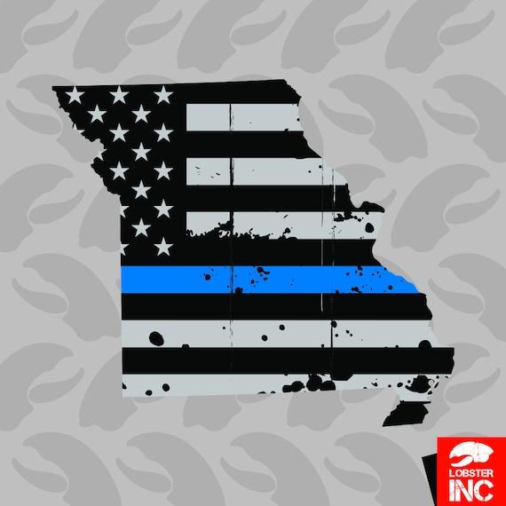 Oklahoma State Shaped The Thin Blue Line Sticker Decal Vinyl police OK