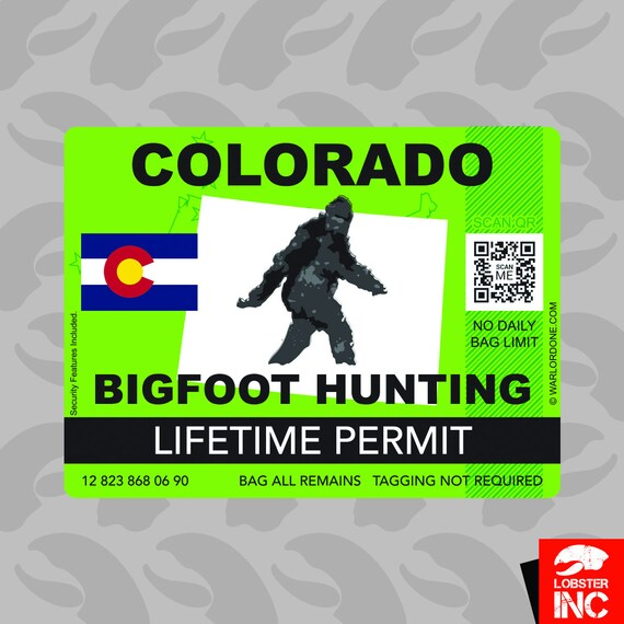 Colorado Sasquatch Hunting Permit Sticker Decal Vinyl Bigfoot 13igfo0T CO