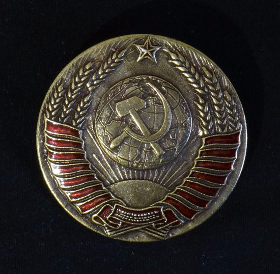Midi size. Memorial sign of the Soviet emblem of the USSR.Brass