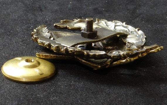 Russian RKKA Red Army CAVALRY COMMANDER Star Hammer Plough Brass Enamel Badge