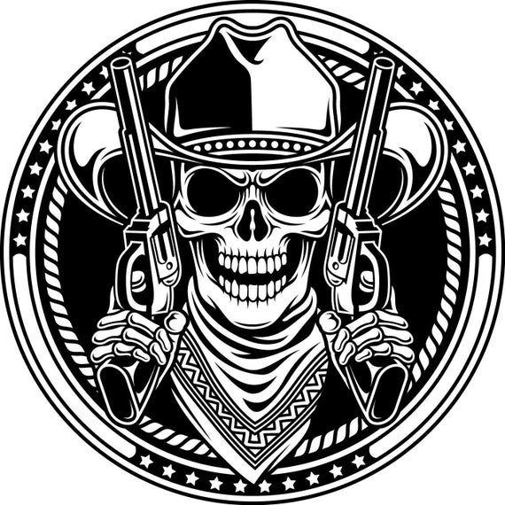Cowboy Skull Vinyl Decal Sticker Pick Your Size 3 Day