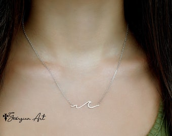 10K, 14K or 18K Solid Gold Wave Charm Necklace, Large Wave Necklace  - Ocean Tide Necklace in Yellow, Rose or White Gold