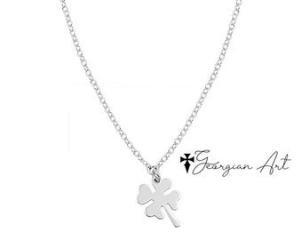 f917db198 Mini Clover Flower Charm Necklace, Four Leaf Clover in Solid Gold: 10K, 14K  or 18K Gold in Yellow, Rose or White Gold - Good Luck Charm