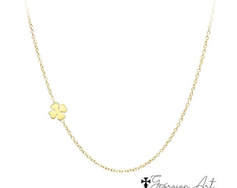217f1af2b Mini Clover Flower Necklace, Four Leaf Clover in Solid Gold: 10K, 14K or  18K - Religious Jewelry in Yellow, Rose or White Gold