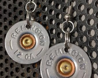 Earrings made from spent 12 gauge shotgun shell brass.