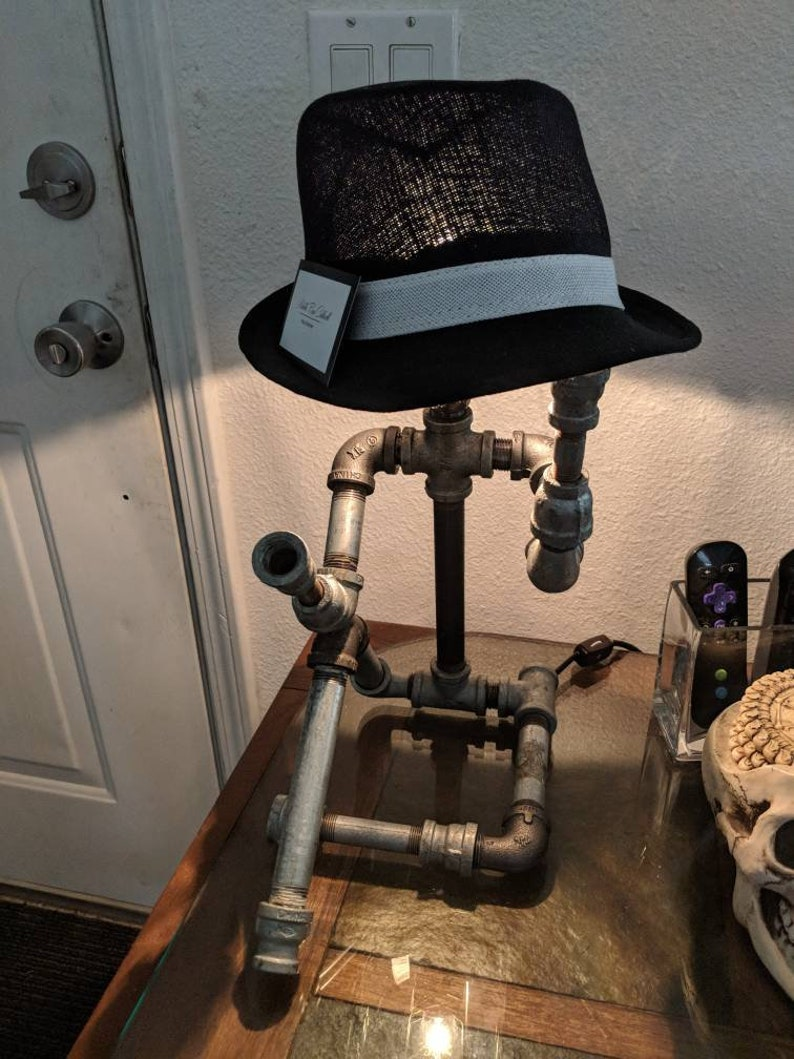 Industrial Steampunk Pipe Guy Lamp with Fedora
