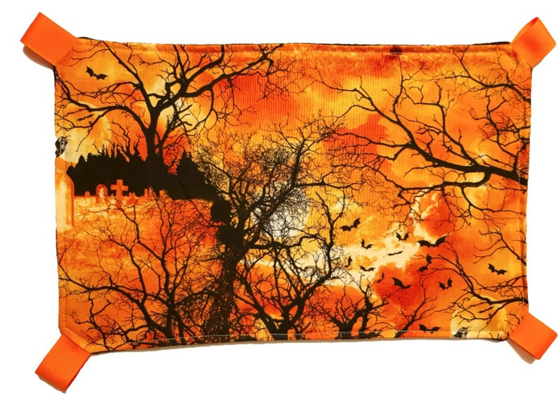 size XL in black Suitable for rats ferrets HALLOWEEN BATS cemetery scene rat hammock pet hammock chinchillas and Guinea pigs with clips