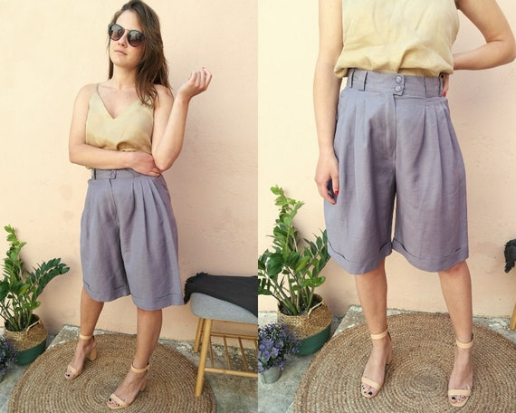 Vintage 90s Linen Mix Shorts, Wide Leg Summer Shorts , 90s Clothing by Etsy