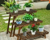 Wood Plant Stand 3 Tiered Corner Ladder Plant Stand Multi Level Step Flower Pot ON SALE