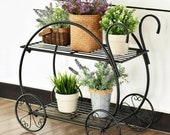 Cart Metal 2-Tier Metal Plant Stand Flower Pot Holder Shelves Garden In Outdoor Decor Fathers Day Gift ON SALE