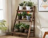 Dark 3 Tier Corner Wooden Plant Stand Ladder Flower Pot Display Rack Shelf Gift Organization Minimalistic Fathers Day Gift ON SALE