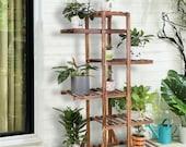 Pine Wood Stand For Plants, Bathroom, Bookcase, Shelf, Rack Corner Flower Holder Outdoor Garden, Plant ladder