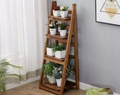 4 Tier Ladder Shelf Leaning Bookcase Plant Stand Display Shelf Rack Brown ON SALE