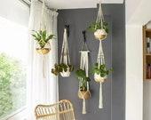 Set of 5 Garden Plant Hanger Macramé Hanging Planter Basket Rope Pot Holder Fathers Day Gift, Indoor Outdoor Gardening