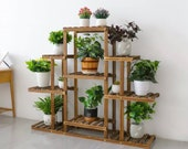 9 Tier Pine Wood Stand For Plants, Bathroom, Bookcase, Shelf, Rack Corner Flower Holder Outdoor Garden, Plant ladder
