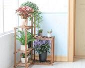 Wood Garden Stand Corner Wooden Plant Stand Ladder Flower Pot Display Rack Shelf Gift Organization For Planters ON SALE