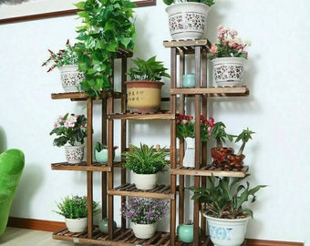 Large Multilayered 11 Tiers Wooden Indoor Plant Rack Stand Flower Pot Shelf Storage European Décor Style | ON SALE