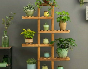 Best Seller | Large Multilayered 6 Tiers Wooden Plant Rack Stand Flower Pot Shelf Storage European Décor Style  ON SALE