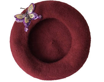 The butterfly by Yasmin Odalisque berets - Burgundy
