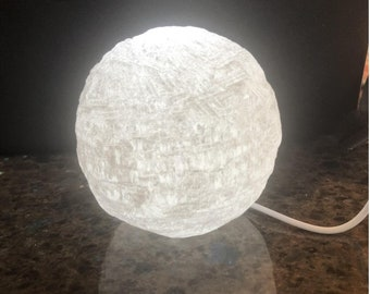 Large Snowball Selenite Crystal Moon USB LED Lamp