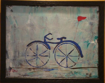 Framed original acrylic on wood by J. Cali. Bicycle