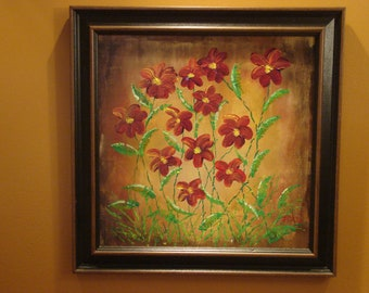 Red floral original acrylic on wood by J. Cali.