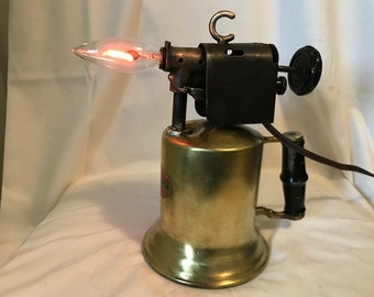 Vintage Brass Wizard Blow Torch Table Lamp
