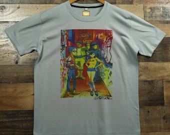 ce677d5f Gorillaz Graffiti Design on a 100% Moisture Wicking Performance Polyester  Graphic Tee T-Shirt / Gray