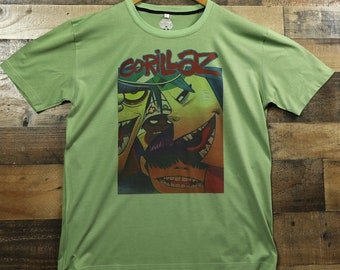 5f14bd3b Gorillaz Virtual Band Members on 100% Moisture Wicking Performance Polyester  Graphic Tee T-Shirt / Sage Green