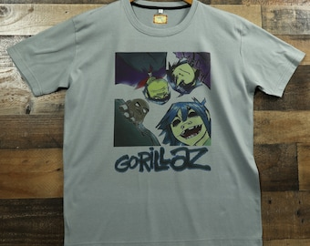 c1eb972f Gorillaz Virtual Band Members on 100% Moisture Wicking Performance Polyester  Graphic Tee T-Shirt / Gray or Olive Green
