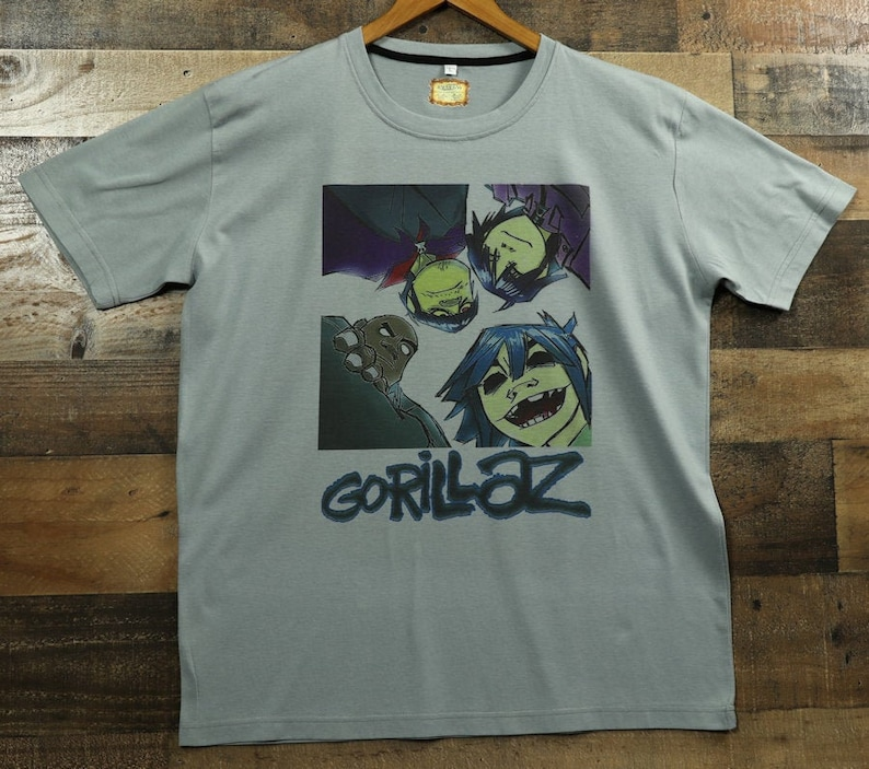eaf8f91a44514 Gorillaz Shirt Virtual Band Members on 100% Moisture Wicking Performance  Clothing Graphic Tee Gorillaz T-Shirt Top / Gray or Olive Green