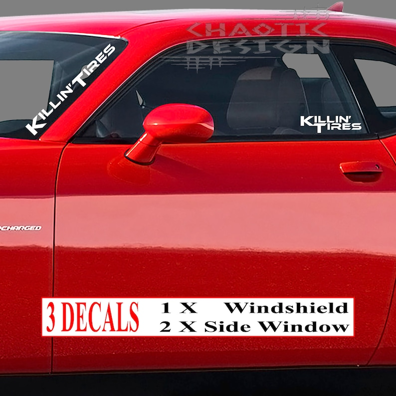 3Three White Die Cut Killin/'Tires Killing Tires Rubber Speed CarAutoTruck BumperWindshield FrontBackSide Window StickerDecal