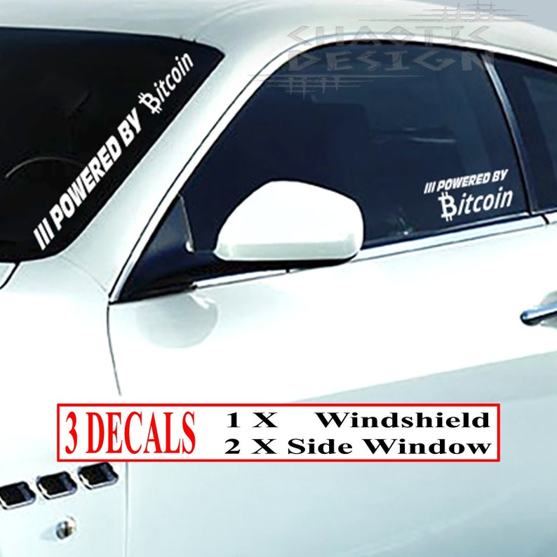 3Three White Die Cut Powered By Bitcoin CarAutoTruck BumperWindshield FrontBackSide Window StickerDecal