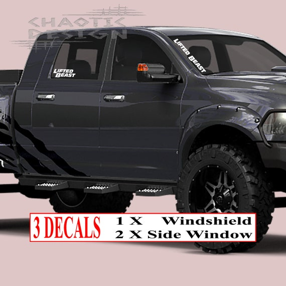 3 Three White Die Cut Lifted Beast Car Auto Truck Bumper Windshield Front Back Side Window Sticker Decal
