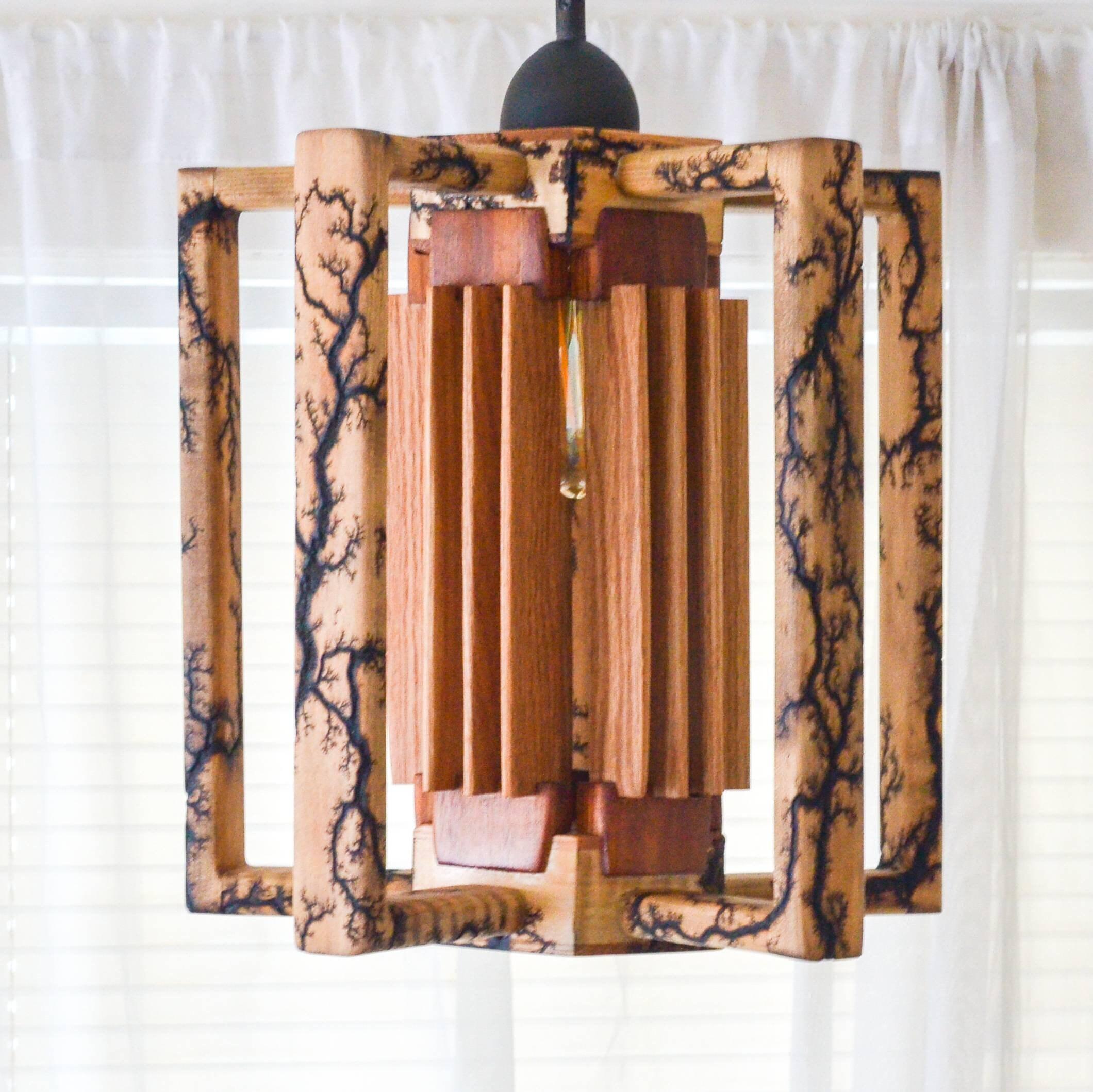Fractal Pendant Lights: Hanging Pendant Lamp With Fractal Wood Burning