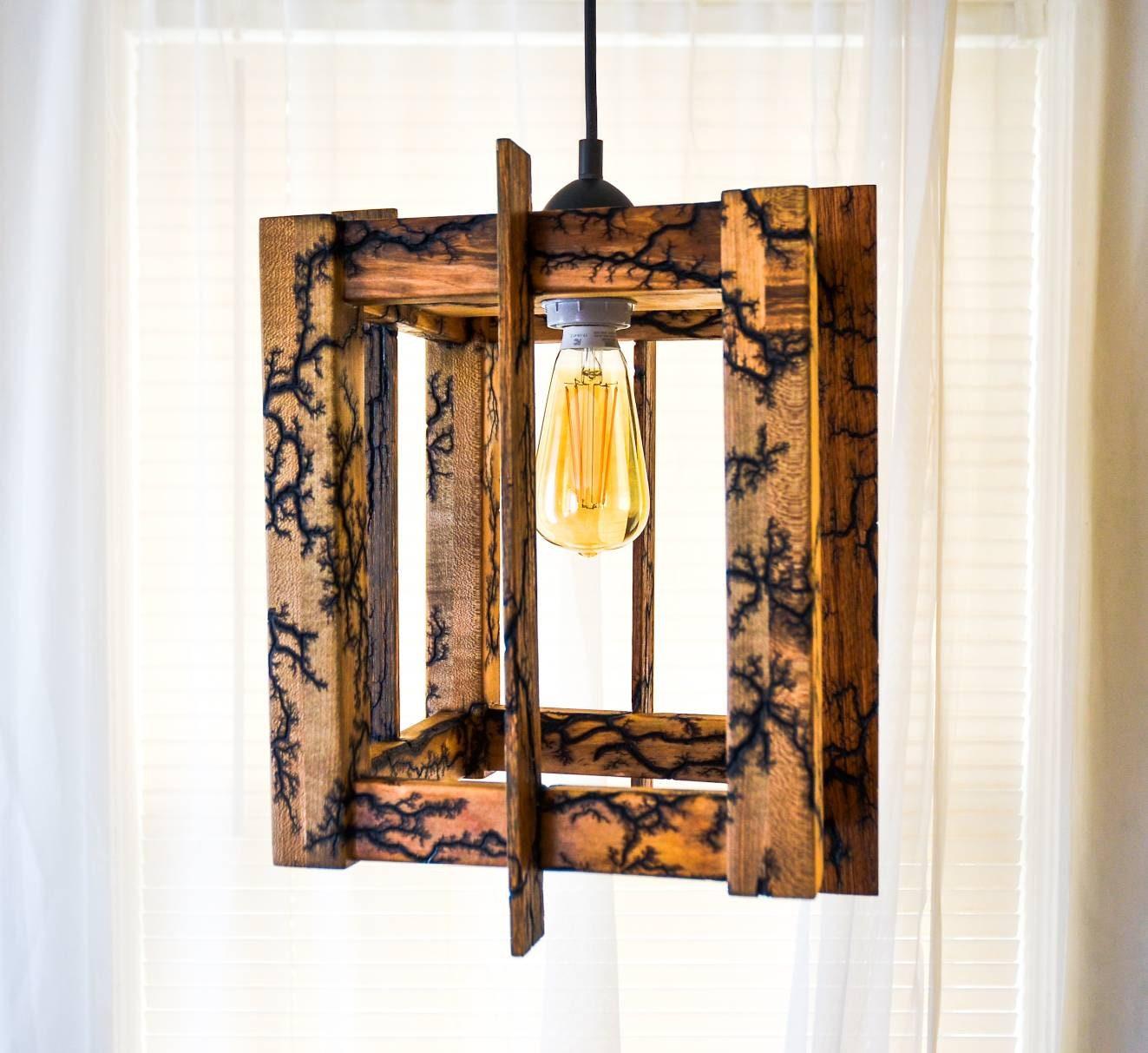Fractal Pendant Lights: Handmade Pendant Lamp W/ Fractal Wood Burning