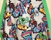 30x30 quot Super Hero, cotton flannel self binding blanket, green, toddler blanket, Ready to Ship